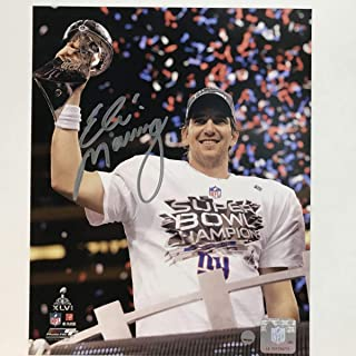 Autographed/Signed Eli Manning New York Giants Super Bowl 8x10 Football Photo Steiner Sports COA Holo Only