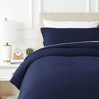 Amazon Basics - Juego de cama de franela con funda nórdica - 135 x 200 cm/50 x 80 cm x 1, Azul marino