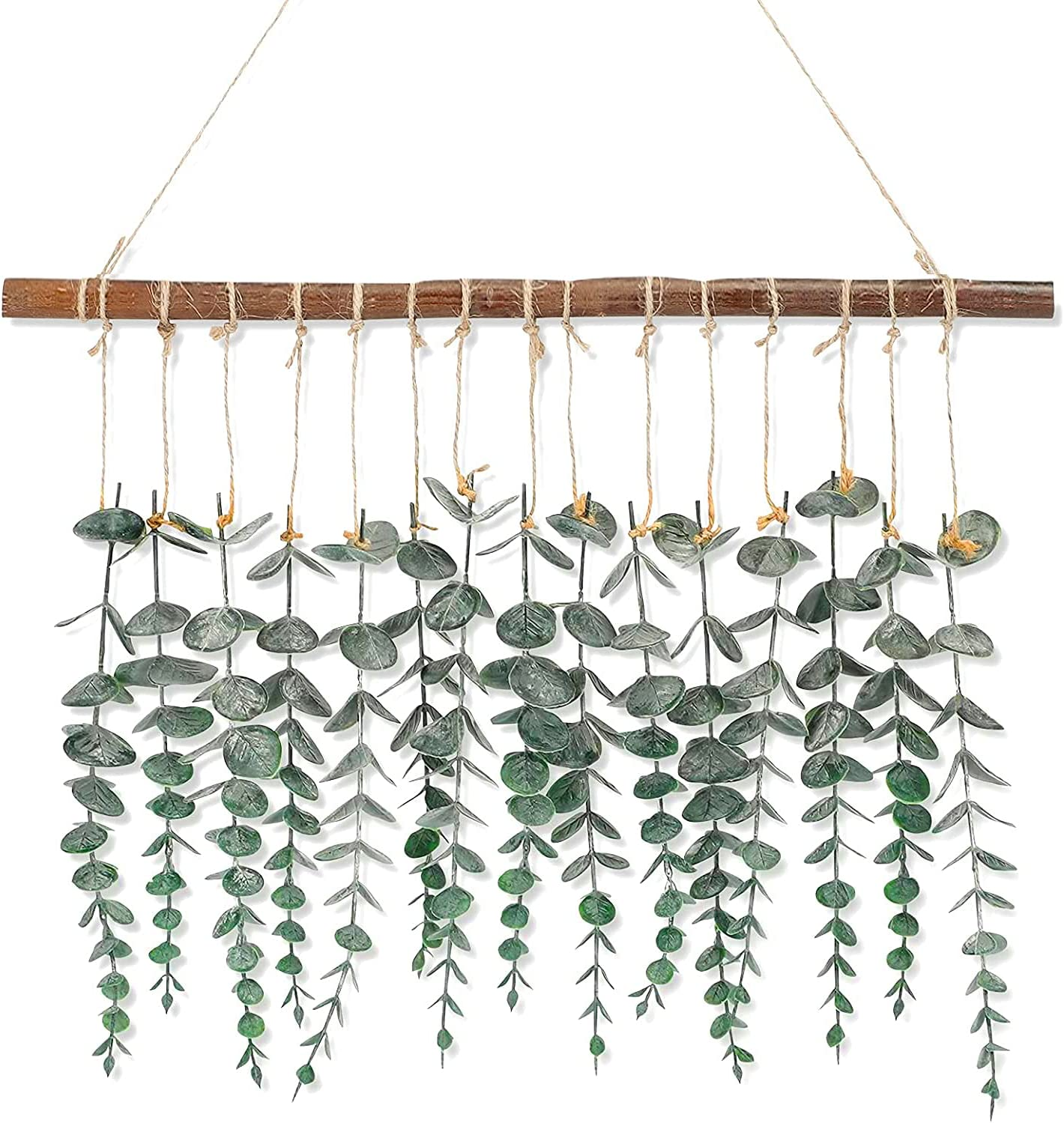 Whonline Artificial Eucalyptus Wall Hanging, Artificial Plants Wall Decor, Fake Eucalyptus Vines with Wooden Stick Decor, Farmhouse and Boho Home Decorations for Bedroom, Living Room and Bathroom