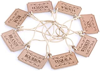 Genuine leather Liquor Decanter Tags/Labels Set of 8 - Scotch, Whiskey, Bourbon, Gin, Rum, Vodka, Tequila and Brandy - Adjustable Microfiber Cord Fits Most Bottles - (Beige)