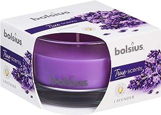 Bolsius Mała szklana świeca zapachowa lawenda, wosk, fioletowa