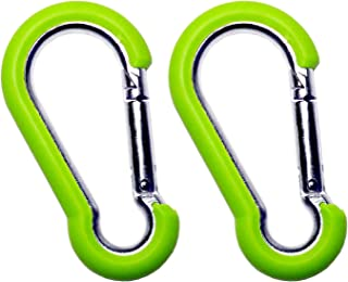 Hook It Clips - Rubber Coated Stainless Steel Caribiner - Certified 2:1 650 Lb Work Load - Color Coded - 2 Pack