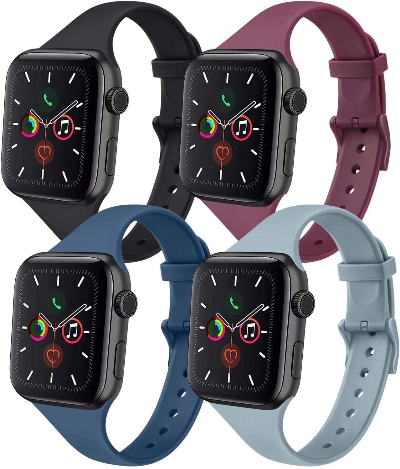 IEOVIEE [Pack 4] Silicone Slim Bands Compatible with Apple Watch bands 42mm 38mm 44mm 40mm Series 6 5 4 3 & SE, Narrow Replacement Wristbands (Black/Gray/Navy Blue/Wine Red, 42mm/44mm M/L)