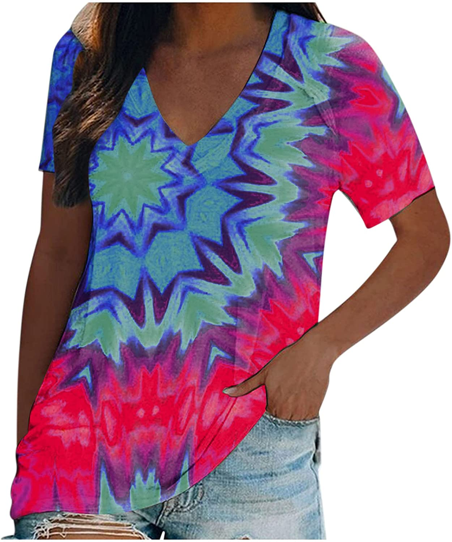 Womens Short Sleeve Tops Tee Loose Fit Tie Dye Shirt Casual Summer Gradient Crewneck T-Shirts Blouses Tunics