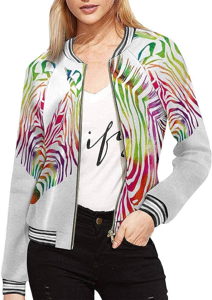 InterestPrint Women's American College Sports Art Jacket Long Sleeve Zipper