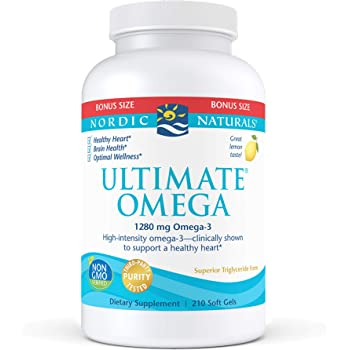 Nordic Naturals Ultimate Omega, Lemon Flavor - 1280 mg Omega-3-210 Soft Gels - High-Potency Omega-3 Fish Oil with EPA & DHA - Promotes Brain & Heart Health - Non-GMO - 105 Servings