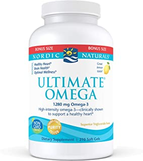 Nordic Naturals Ultimate Omega, Lemon Flavor - 1280 mg Omega-3-210 Soft Gels - High-Potency Omega-3 Fish Oil with EPA & DH...