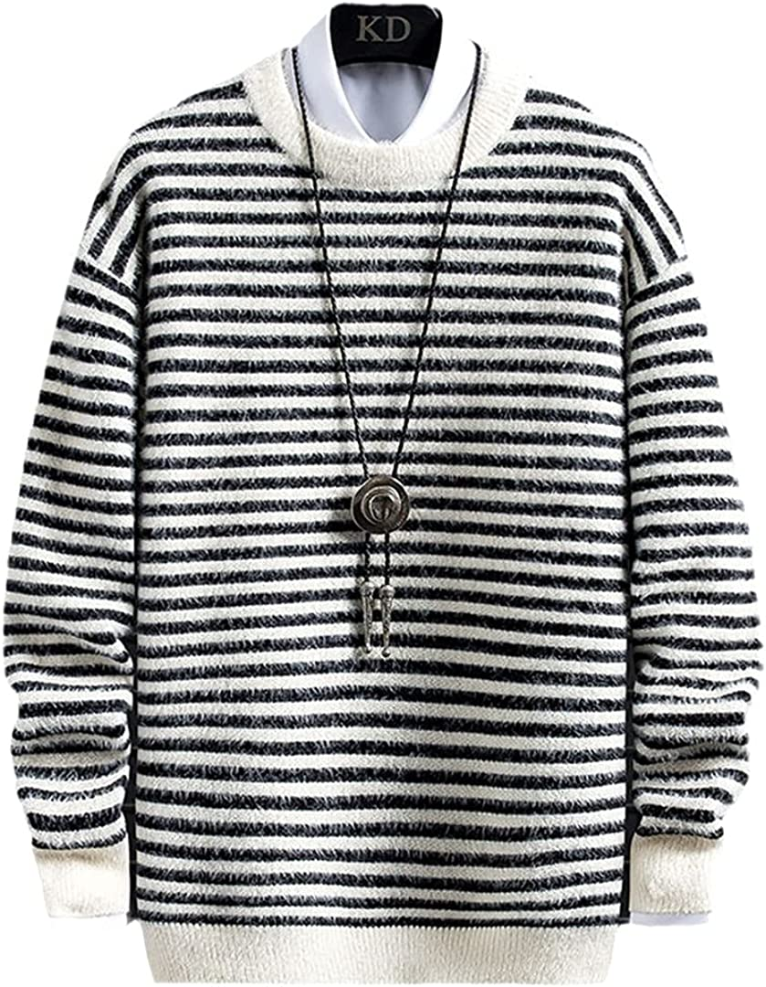 HONSILLENGS Max 57% OFF Winter Mink Cashmere Special Campaign Sweater Men Clothes Striped