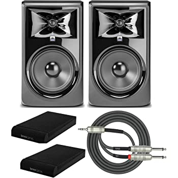JBL 308P MkII Powered 8-inch Two-Way Studio Monitor (Pair) with Knox Isolation Pads and Breakout Cable Bundle (4 Items)