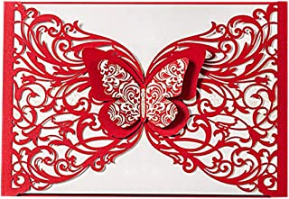 Hosmsua 50x Red Laser Cut Wedding Invitations Cards with Gold Butterfly Invite Card for Bridal Shower Engagement Graduation (50PCS)
