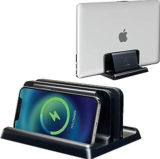 Vertical Laptop Holder Desk Wireless Phone Charging Dock, Laptop Vertical Stand, MacBook Vertical Stand Holder ,Laptop Sta...