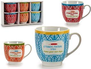 Ar Juego 6 Tazas Café con Leche Étnico - Medida: 8 x 26 x