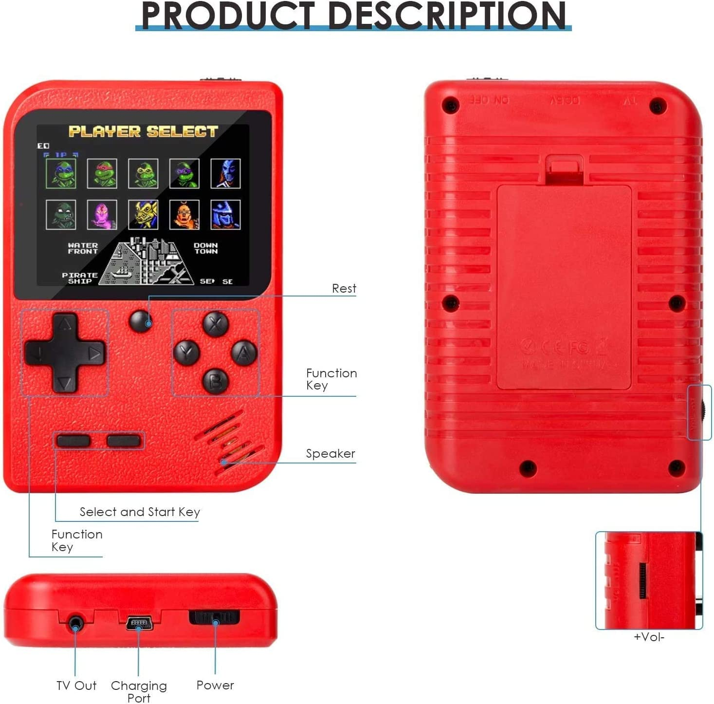 Black Retro Game Console Handheld Game Console Retro Mini Game Player with 500 Classical FC Games 2.8-Inch Color Screen Support for Connecting TV /& Two Players 1000mAh Rechargeable Battery