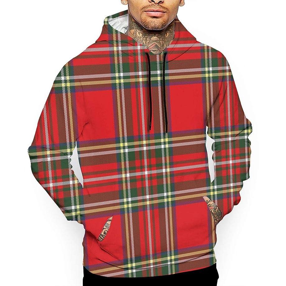 Red Plaid European Western Culture Men's Digital Print Hooded Sweater Pullover Sweatshirt Top Hoodie