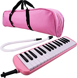 32 Piano Keys Melodica Musical Instrument for Education Teaching and Playing (Pink)