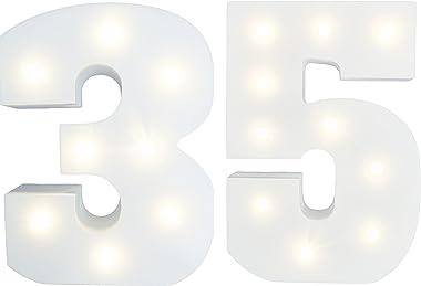 Peace & Thyme Chiffres lumineux - Chiffre 35 - Age 35 - Hauteur 15 cm