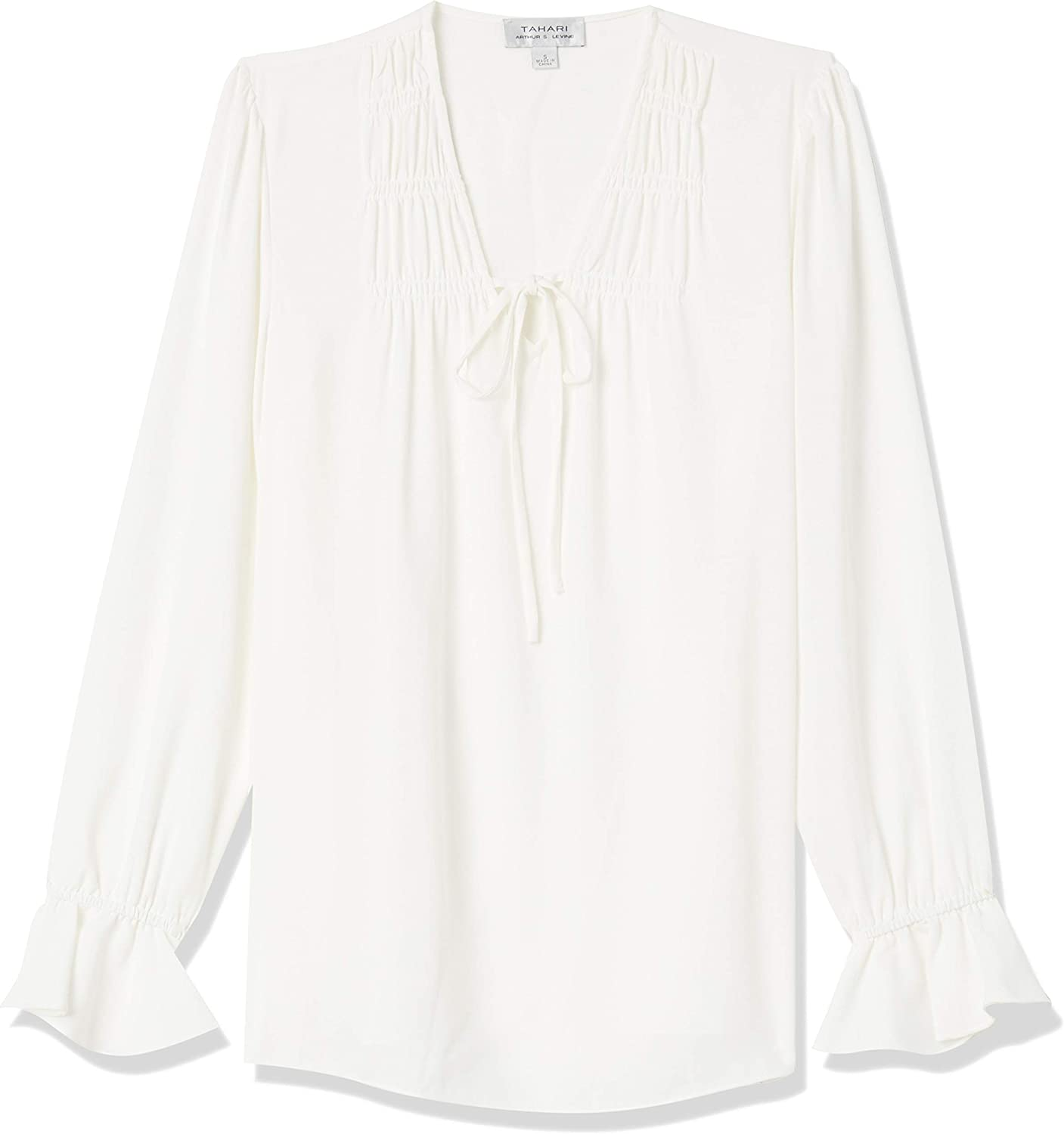 Tahari ASL Women's Long Neck Sleeve Daily bargain sale Tie Blouse In a popularity