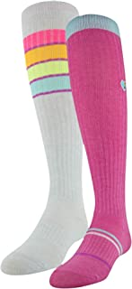 Knee High Over The Calf Socks, 2-Pair, Mojo Pink/Assorted, Youth Large