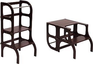 comprar comparacion Descapotable Torre de Aprendizaje/Mesa Ste'n'Sit, all-in-one, Montessori learning tower - MARRON/antique BRASS clasps