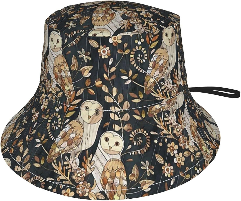 Wooden Wonderland Barn Owl Collage Kids Bucket Hat Sun Protection Hat for Boys Girls Summer Hat Black