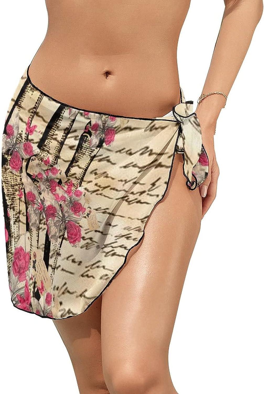 Women Beach Wrap Skirt Chiffon Sarong Pareo Swimsuit Bikini Cover Ups Letter Skull Hand Pink Roses