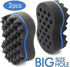 RioRand Magic Twist Hair Sponge,Barber Wave Tornado Big Comb Two-Side,Large Brush For Afro Natural Hair(2PCS Blue)