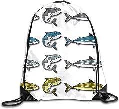 OLGCZM Mackerel Vector Cartoon Illustration Drawstring Backpack Bag Shoulder Bags Gym Bag for Adult