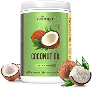 Virgin Coconut Oil Capsules 4000mg / Serving (360 Softgels) by Natrogix - Highest Potency MCT Oil Improves Hair, Skin, Heart, Digestive Health & Immune System Booster, Healthy Weight Loss