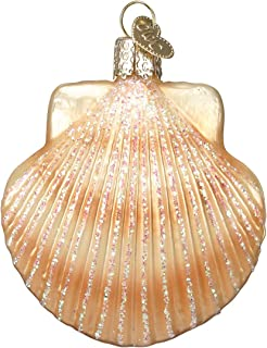 Old World Christmas Glass Blown Ornament with S-Hook and Gift Box, Sea Shell Collection (Clam Shell)