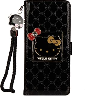 iPhone 7 Plus/iPhone 8 Plus Hello Kitty Wallet Case,Bling Mirror Bowknot PU Leather Purse Card Slot Pouch Flip Cover Kickstand Case for Girl Woman Lady (Black, iPhone 7 Plus/iPhone 8 Plus)