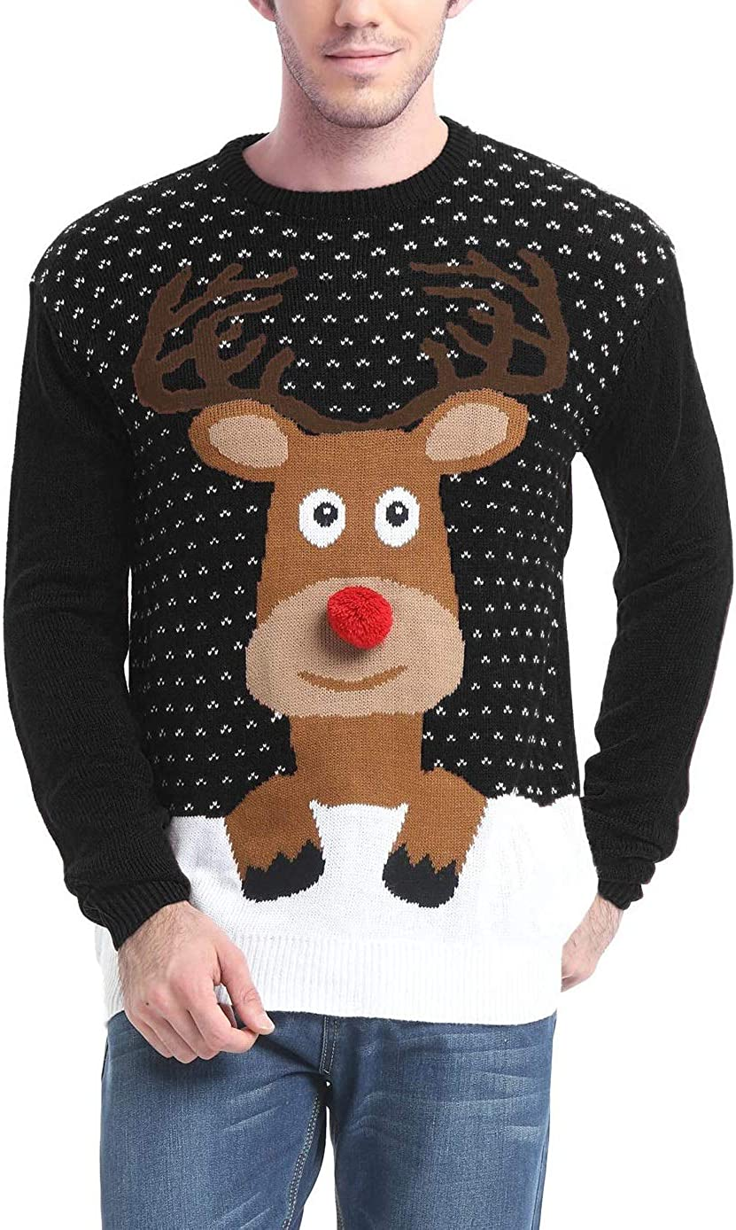 Daisysboutique Men's Holiday Reindeer Snowman Santa Snowflakes Sweater
