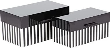 """Deco 79 12"""" & 14"""" Modern Rectangular Striped Wooden Boxes with Lid (Set of 2), Black/White"""
