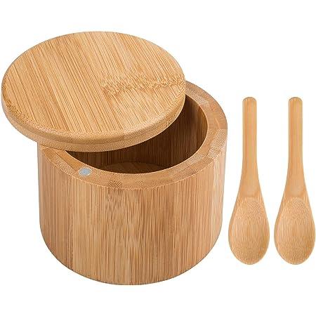 Caja de sal, recipiente redondo para especias DanziX con tapa giratoria con 2 cucharas extra pequeñas para almacenamiento de condimentos y artículos pequeños