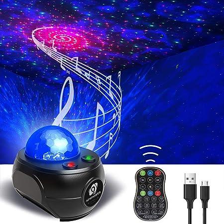 Lampe Projecteur LED, Ninthealth Veilleuse Projecteur Vagues Océan avec Télécommande Lumière Projecteur Bluetooth Commande avec Enceinte Intégré pour Décoration des Chambres/Enfants/Fête/Cadeau