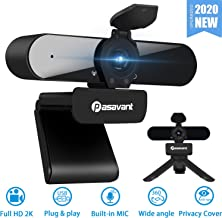 Webcame with Microphone Privacy Cover, Pasavant 400W HD USB Web Camera PC Webcam with 360 Degree Rotation,Flexible Rotatable Clip and Tripod for Video Conferencing, Recording, Streaming(Black)