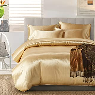 AiMay 3 Piece Duvet Cover Set (1 Duvet Cover + 2 Pillow Shams) Satin Silk Honeymoon Sexy Luxury 100% Super Soft Microfiber Bedding Collection (King, Golden)