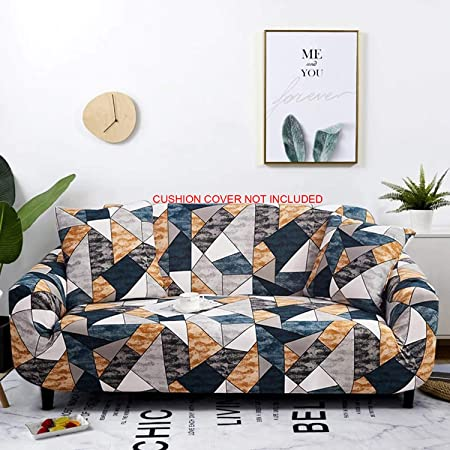 House of Quirk Universal Triple Seater Sofa Cover Big Elasticity Cover for Couch Flexible Stretch Sofa Slipcover (Triple Seater, Antique Prism), Polyester & Spandex, Multicolour