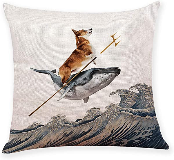 Ihopes Aquadog The Corgi Rides A Whale Dog Pillow Covers Pillow Case Cushion Cover For Sofa Couch Decor 18 X 18 Inch