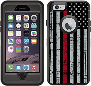 Teleskins Protective Designer Vinyl Skin Decals/Stickers for Otterbox Defender iPhone 6 Plus / 6S Plus Case -Thin Red Line USA Fire Fighter Flag Design Patterns - only Skins and not Case
