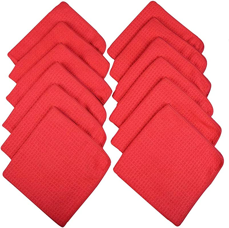 SINLAND Microfiber Waffle Weave Dish Cloths For Washing Dishes Dish Rags Kitchen Drying Cleaning Cloth Reusable Washable 13inchx13inch 12 Pack Amanranth