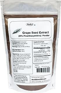 NuSci Grape Seed (Europe) Extract Powder Standardized 95% Proanthocyanidins OPC (100 Grams (3.52 oz)) Europe Grown GMO Free Non-Irradiated