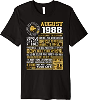 Born August Leo 1988 birthday gifts Premium T-Shirt