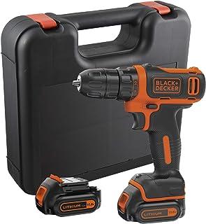 Black & Decker BDCDD12KB-QW BDCDD12KB-QW-Taladro Atornillador 10,8V con 2 baterías 1,5Ah y maletín