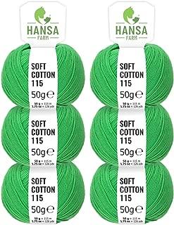 HANSA-FARM 100% algodón en 14 Colores - Set de 300 g (6 x 50 g) - Lana con Certificado Standard 100 Oeko-Tex para Hacer Punto y Ganchillo Verde