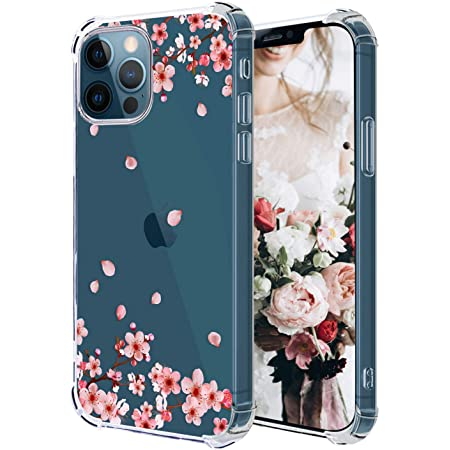 Hepix Compatible with Floral iPhone 12 Pro Case Plum Blossom Flowers 12 iPhone Cases, Clear Slim Flexible Crystal TPU Phone Cover Protective Bumpers Anti-Scratch Shock Absorption for iPhone 12 Pro/12