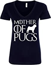 Mother of Pugs Funny GOT Mother's Day Mom Dog Lover Gift Women V-Neck T-Shirt - Black New