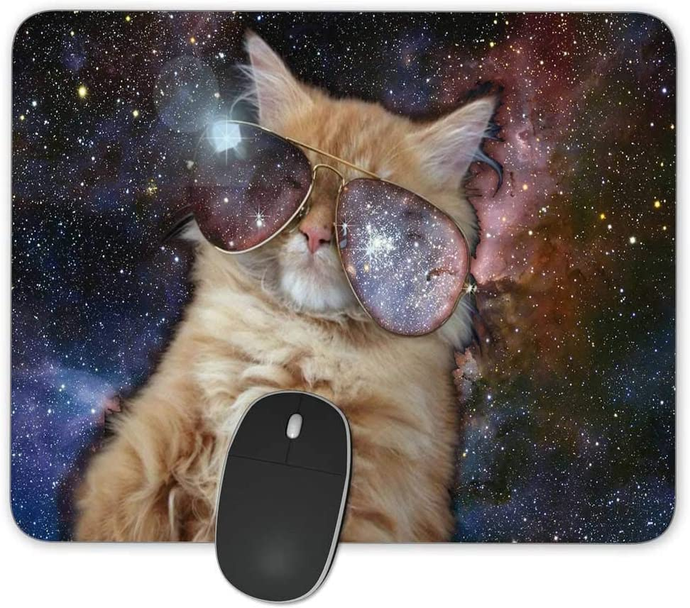 New Free shipping on posting reviews arrival Funny Space Cat Rectangle Mousepad Pad Gaming Oblon Mouse Rubber