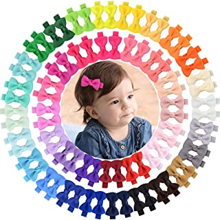 "Alinmo 2"" Tiny Hair Bows Clips for Baby Girls Fully Ribbon Lined Alligator Clips for Infants Toddlers Kids Children"