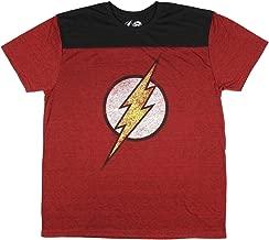 DC Comics Flash Mens Red Black Yoke T-shirt
