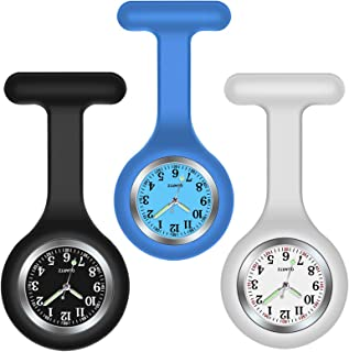 H HOME-MART 3 Pack Nurse Watch Brooch with 3 Colours, Silicone with Pin/Clip, Glow in Dark, Infection Control Design, Heal...